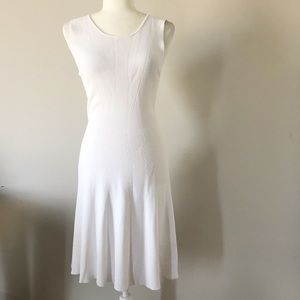 Massimo Dutti White Ribbed Dress